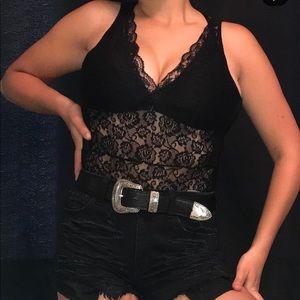 Black lace plunge bodysuit